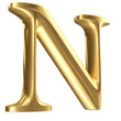 Golden matt letter N in perspective, jewellery font collection