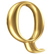 Golden matt letter Q in perspective, jewellery font collection