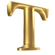Golden matt letter T in perspective, jewellery font collection
