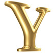 Golden matt letter Y in perspective, jewellery font collection