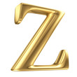 Golden matt letter Z in perspective, jewellery font collection