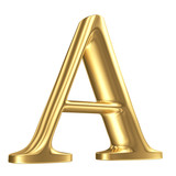 Golden matt letter A in perspective, jewellery font collection
