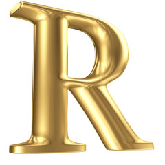 Golden matt letter R in perspective, jewellery font collection