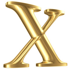 Golden matt letter X in perspective, jewellery font collection
