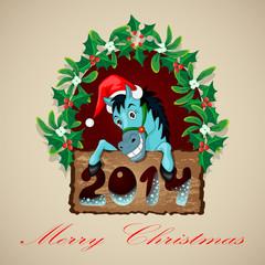 Christmas Blue Horse