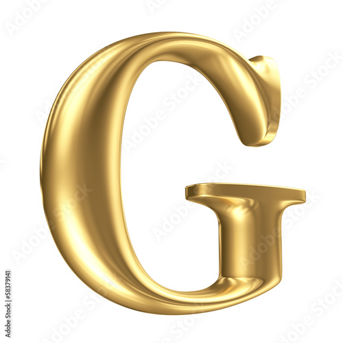 Golden matt letter G in perspective, jewellery font collection