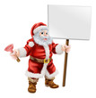 Santa holding plunger and sign