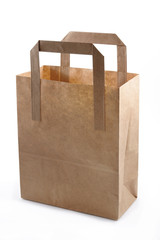 Brown Paper Shopping Bag studio isolated
