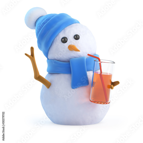 Snowman is drinking at the party