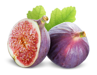 Figs with leaves on a white background