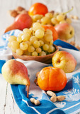 Persimmon, grapes and pears