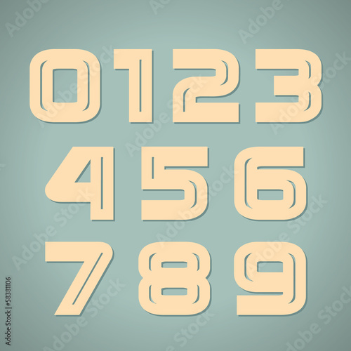 Vector set retro style geometric numbers