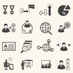 human resource management and consulting business icons set