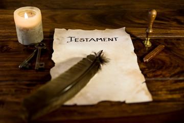 Dokument mit dem Wort Testament