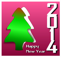 Happy New Year 2014 Greeting Card Design