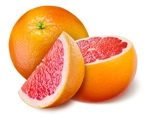 Grapefruit with a half and piece on white background