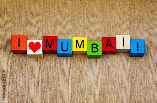 I Love Mumbai, India - sign series for travel and holidays