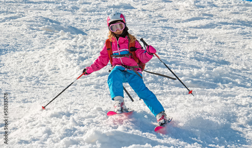 Child skiing in sharp cornering