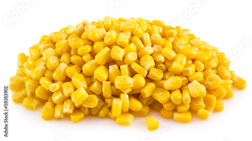 Canned corn isolated on white