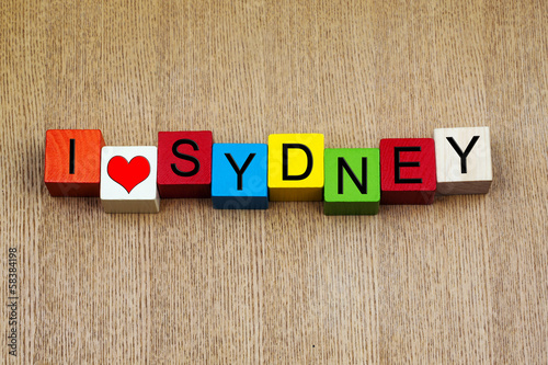 I Love Sydney, Australia - sign series for travel destinations a