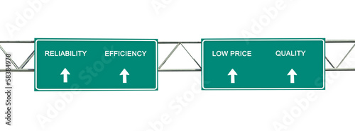 Road signs to reliability, efficiency, low price, quality