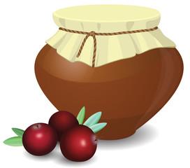 Cranberries, pot of jam