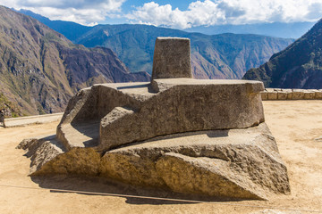 Inca Wall in Machu Picchu, Peru, South America.