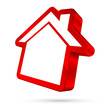House Icon 3D Red