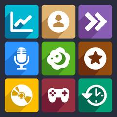 Multimedia flat icons set 6