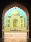 view on Taj Mahal mausoleum from arch