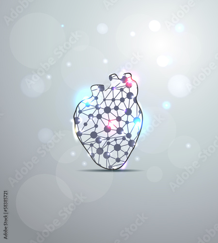 Abstract heart shape illustration, scientific design.