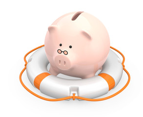 Piggy bank and lifebuoy