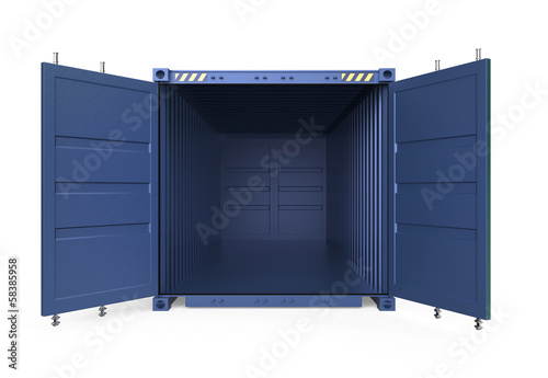Empty blue cargo container