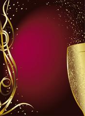 reveillon cotillons champagne rouge