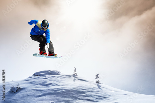snowboarder in the snow storm