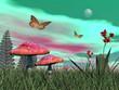 Fantasy garden - 3D render - 58387343