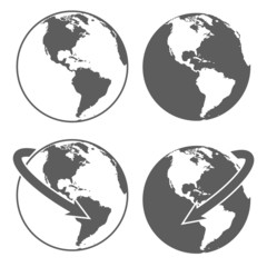 Gray earth icons set on white background.