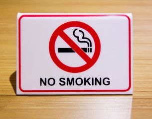 No Smoking Sign on the table.