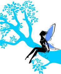 Silhouette of fairy sitting on branch of  tree