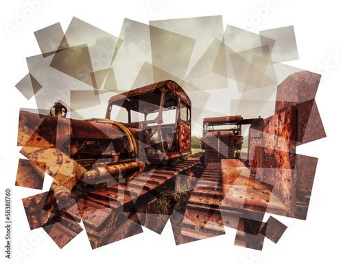 rusting tractors collage