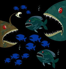 Background with deep monsters fishes