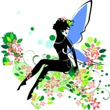 Silhouette of fairy in flower