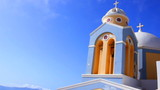 Santorini Blue Domed Church In Greece