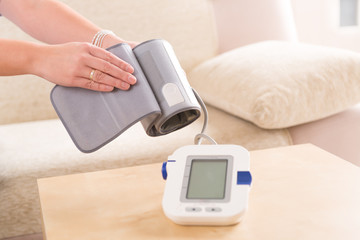checking blood pressure at home