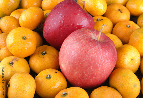 Colorful apples and oranges