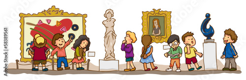 Children are having an educational study at the art gallery muse