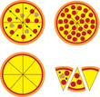 Pizza pie and slices with various toppings