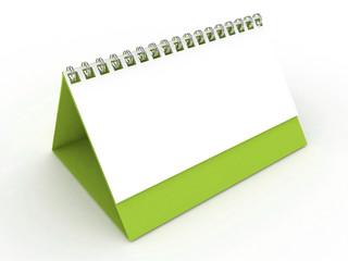 3d Blank Calendar Light Green Color