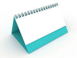 3d Blank Calendar Turquoise Color
