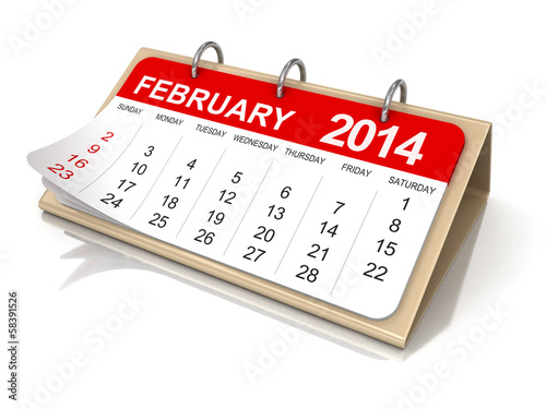 Calendar -  february 2014  (clipping path included)